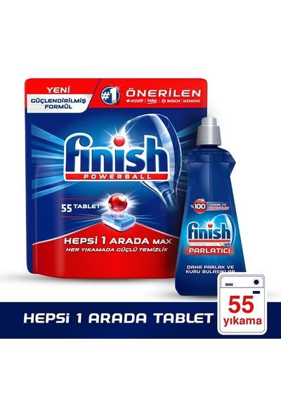 Finish Hepsi Bir Arada 55 Tablet Bulaşık Makinesi Deterjanı + Finish Parlatıcı 400 ml