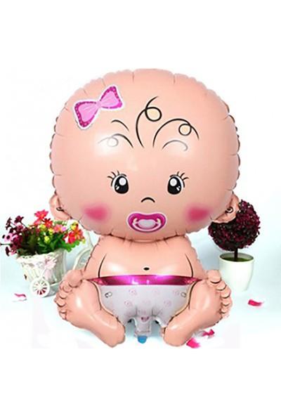 Kazanabil Kız Bebek Figürlü Kendin Şişir Uçan Folyo Balon Pembe