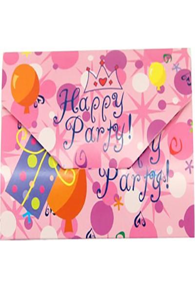Kazanabil 12li Happy Party Yazılı Doğum Günü Davetiyesi Pembe