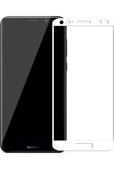 Dafoni Huawei Mate 10 Curve Tempered Glass Premium Full Beyaz Cam Ekran Koruyucu