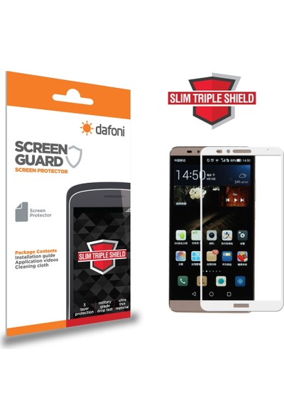 Dafoni Huawei Mate 8 Curve Slim Triple Shield Beyaz Ekran Koruyucu