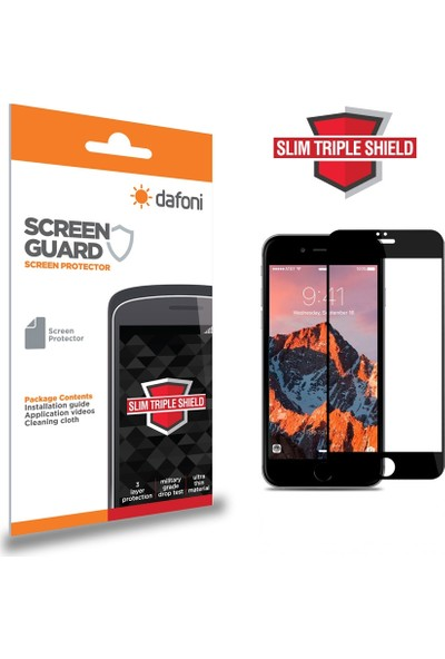 Dafoni iPhone 7 Plus / 8 Plus Curve Slim Triple Shield Siyah Ekran Koruyucu