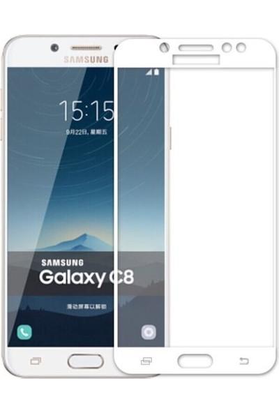 Dafoni Samsung Galaxy C8 Curve Tempered Glass Premium Full Beyaz Cam Ekran Koruyucu