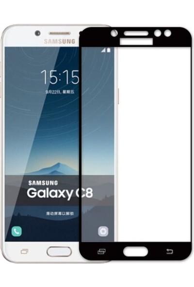 Dafoni Samsung Galaxy C8 Curve Tempered Glass Premium Full Siyah Cam Ekran Koruyucu