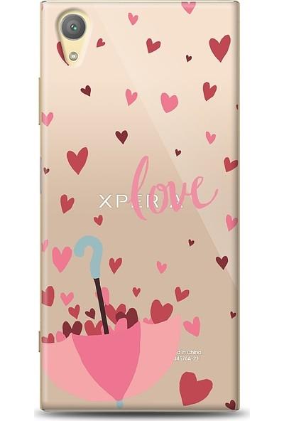 Eiroo Sony Xperia XA1 Plus Love Umbrella Desenli Baskılı Tasarım Kılıf