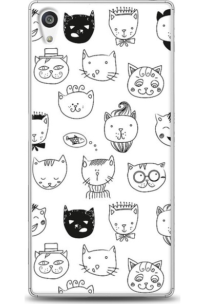 Eiroo Sony Xperia Z5 Cats Desenli Baskılı Tasarım Kılıf