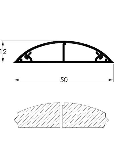 A Plus Elektrik 50x12 mm Balık Sırtı Güçlü Yapışkan Bantlı Gri 2x1m=2m Kablo Kanalı