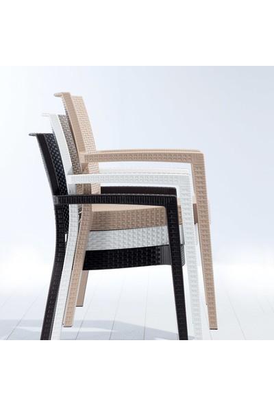 Metropol Masa Sandalye Takımı Pierre Rattan Camlı Masa 6 Sandalye