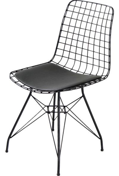 Evform Tel Sandalye Mutfak Bahçe Ofis Sandalyesi - Siyah