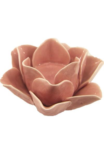 Pario Pembe Çiçek Hediyelik Konsol Üstü Mumluk