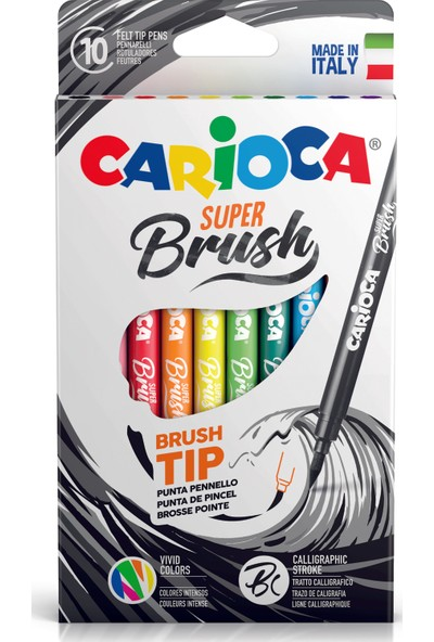 Carioca Super Brush Fırça Uçlu Keçeli Boya Kalemi 10'Lu