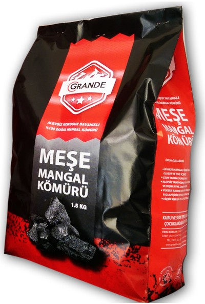 Grande Doğal Meşe Mangal Kömürü 1,5 Kg - 10'lu Koli Tatil Paketi
