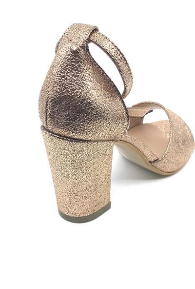 Pianoluce Altın Çatlak Kadın Kalın Topuklu Ayakkabı Pla31-102