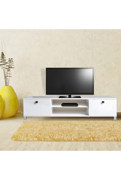 Boo Bruna 2 Kapaklı 2 Bölmeli Tv Sehpası Parlak Beyaz