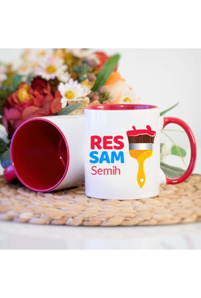 Kişiye Özel Ressam Tasarımlı Kırmızı Kupa Bardak - tk9622