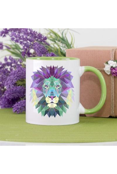 Kişiye Özel Lion (Aslan) Yeşil Kupa Bardak - tk4364