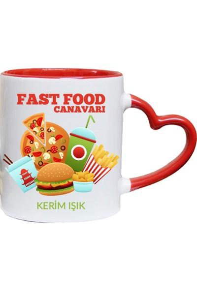 Kişiye Özel Fast Food Canavarı Tasarımlı Kupa Bardak - tk9486