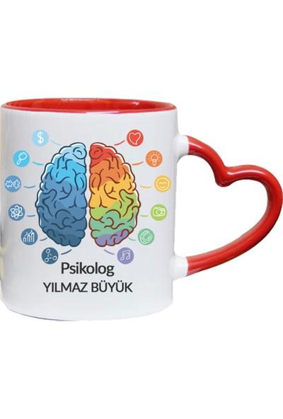 Kişiye Özel Psikolog Tasarımlı Kalpli Kupa Bardak - tk3497