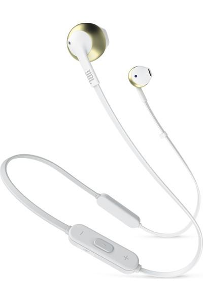 JBL T205BT Bluetooth Mikrofonlu Kulakiçi Beyaz - Altın Kulaklık