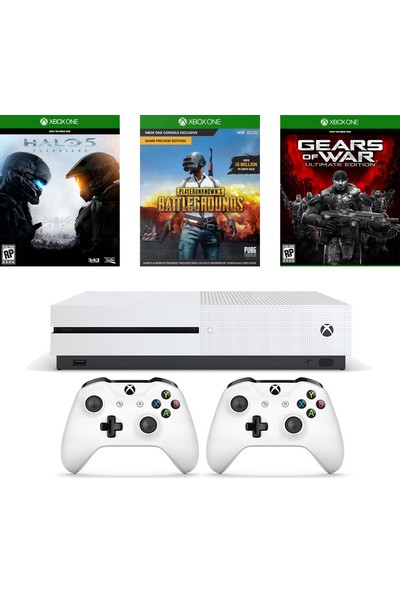 Microsoft Xbox One S 1 TB + PUBG + Halo 5 + GOW Ultimate Edition + 2. Kumanda