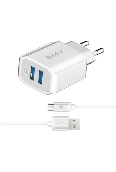 S-Link Swapp SW-C525 2 USB + Micro 5V 2.1A Metal Kablolu Ev Şarj Adaptör