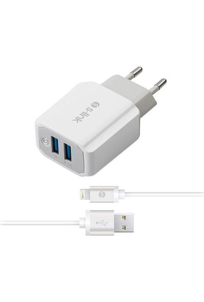 S-Link Swapp SW-C625 2 USB + İPad /iPhone6 5V 2.1A Metal Kablolu Ev Şarj Adaptör