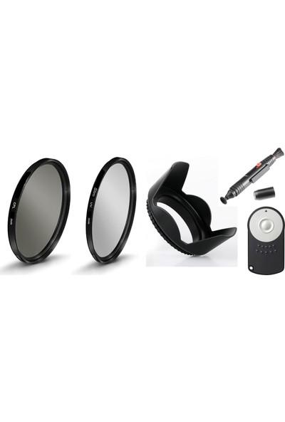 Canon 18-55mm Lens için Slim Uv + Cpl Polarize Filtre + Yaprak Parasoley + Rc-6 Kumanda +Pen