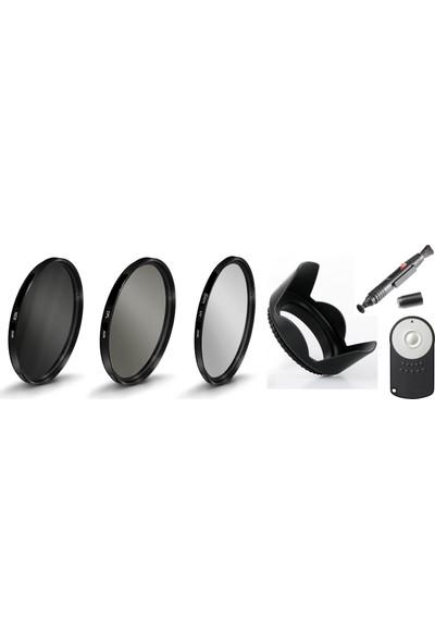 Canon 18-55mm Lens için Slim Uv + Cpl Polarize + Nd8 Filtre + Parasoley + Rc-6 Kumanda + Pen