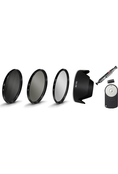 Canon 18-135mm Lens için Slim Uv + Cpl Polarize + Nd8 Filtre + Ew-73b Parasoley + Rc-6 + Lenspen