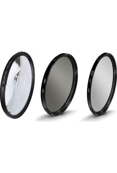 Nikon 18-55mm Lens için 52mm Slim Uv Filtre + Cpl Polarize Filtre + Close Up +10 Macro Filtre