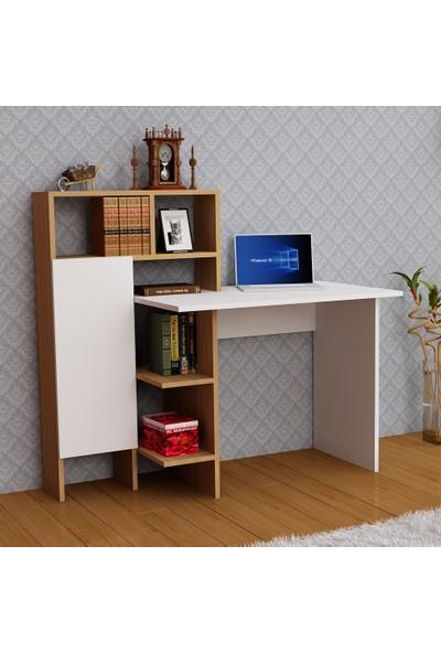Arnetti Buğra Çalışma Masası Beyaz-Teak