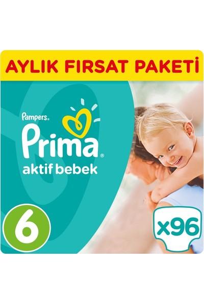 Prima Bebek Bezi Aktif Bebek 6 Beden Ekstra Large Aylık Paketi 96 Adet