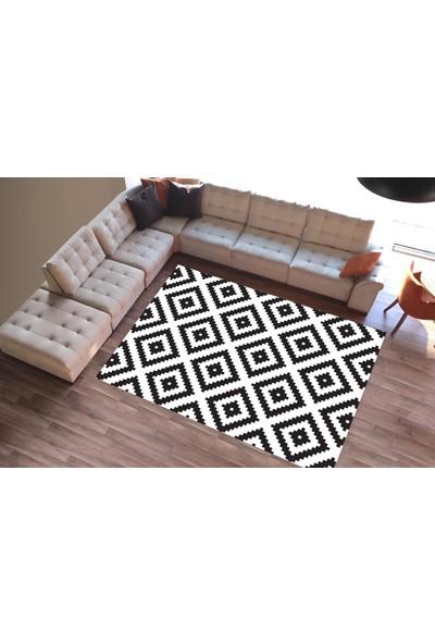 Cici Halı Örtüsü Dekoratif Çizgiler Siyah Beyaz Lastikli Halı Örtüsü-160x233