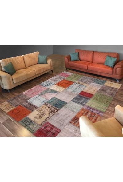 Cici Halı Örtüsü Kare Mozaik Desenli Modern Lastikli Halı Örtüsü-150x233