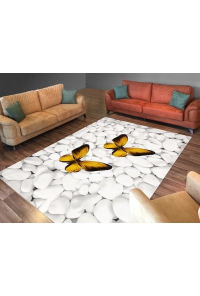 Cici Halı Örtüsü Beyaz Taşlar Üzeri Hardal Kelebekli Lastikli Halı Örtüsü-200x300