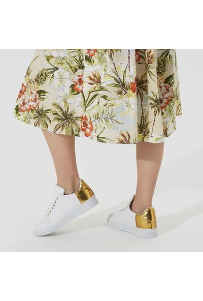Butigo Zona Z Beyaz Altın Kadın Sneaker Ayakkabı