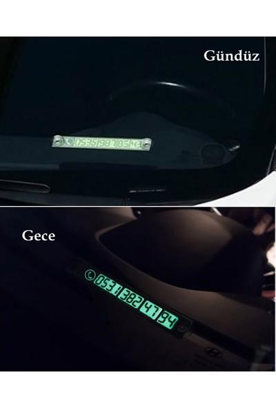 Car Interior Fosforlu Araç Park Etiketi Telefon Numarası Kartı Numaratör Plaka