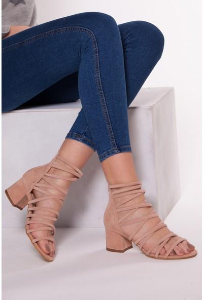 Tarçın Trc01-0148 Topuklu Ayakkabı Pudra Süet
