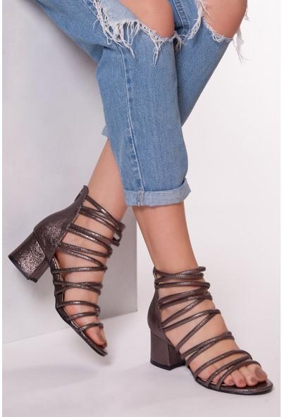 Tarçın Trc01-0148 Topuklu Ayakkabı Platin Cam