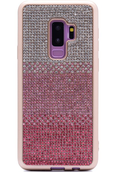 HappyShop Samsung Galaxy S9 Plus Kılıf Taşlı Parlak Mat Laser Silikon - Pembe