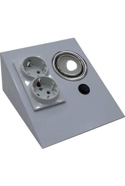 Espar Dolap Tezgah Altı Beyaz Metal Led Aydınlatmalı Priz
