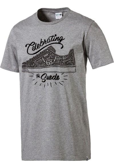 Puma Suede Celebration Tee Erkek Gri T-Shirt 8508360300