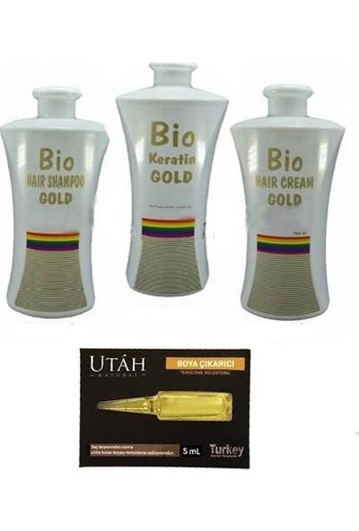 Bio Keratin Gold Kalıcı Brezilya Fönü 3'lü Set 700 ml + Utah Boya Çıkarıcı Temizleme Solüsyonu