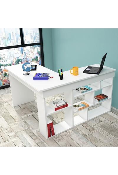 Yurudesign Tywin Kitaplık Raflı Çalışma Masası Beyaz