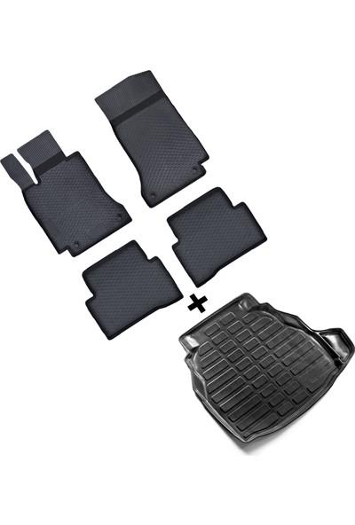 Fit 4 Car Mercedes C W205 Sd 2014 Yüksek Kenar Kauçuk Paspas & Bagaj Havuzu (Plastik Set) Seti - Siyah
