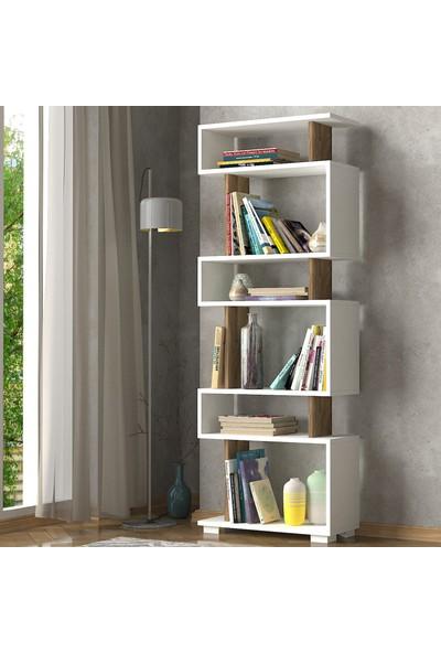 Dekorister Blok Kitaplık Beyaz-Ceviz