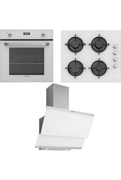 Silverline Ankastre Set; BO6191W01 Ankastre Fırın, CS5349W01 Ankastre Ocak, 3420 Beyaz 60 cm Davlumbaz