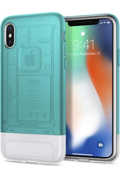 Spigen Apple iPhone X Kılıf Classic C1 (10.Yıl Özel) Bondi Blue - 057CS23194