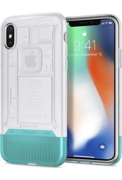 Spigen Apple iPhone XS / iPhone X Kılıf Classic C1 (10.Yıl Özel) Snow - 057CS23198