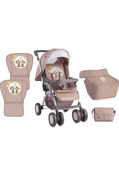 Lorelli Combi Çift Yönlü Bebek Arabası Beige Daisy Bears